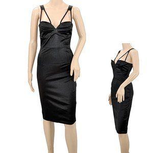 Black Satin Femme Strappy Wiggle Bodycon Dress 8